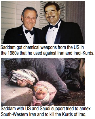 Chemical weapons against Kurds and Iran.