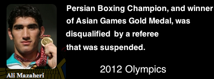 Ali Mazaheri disqualified olympics boxing