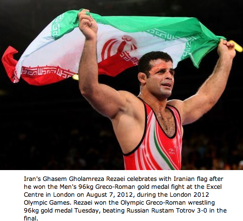 Ghasem Gholamreza Rezaei (26) won the olympic gold medal of men's 96kg Greco-Roman for Iran