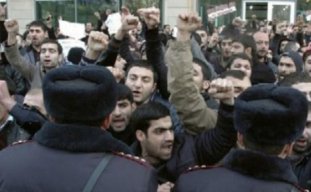 Muslims in the Republic of Azerbaijan, which are the majority, protesting against Pan-Turkist discrimination against their faith.